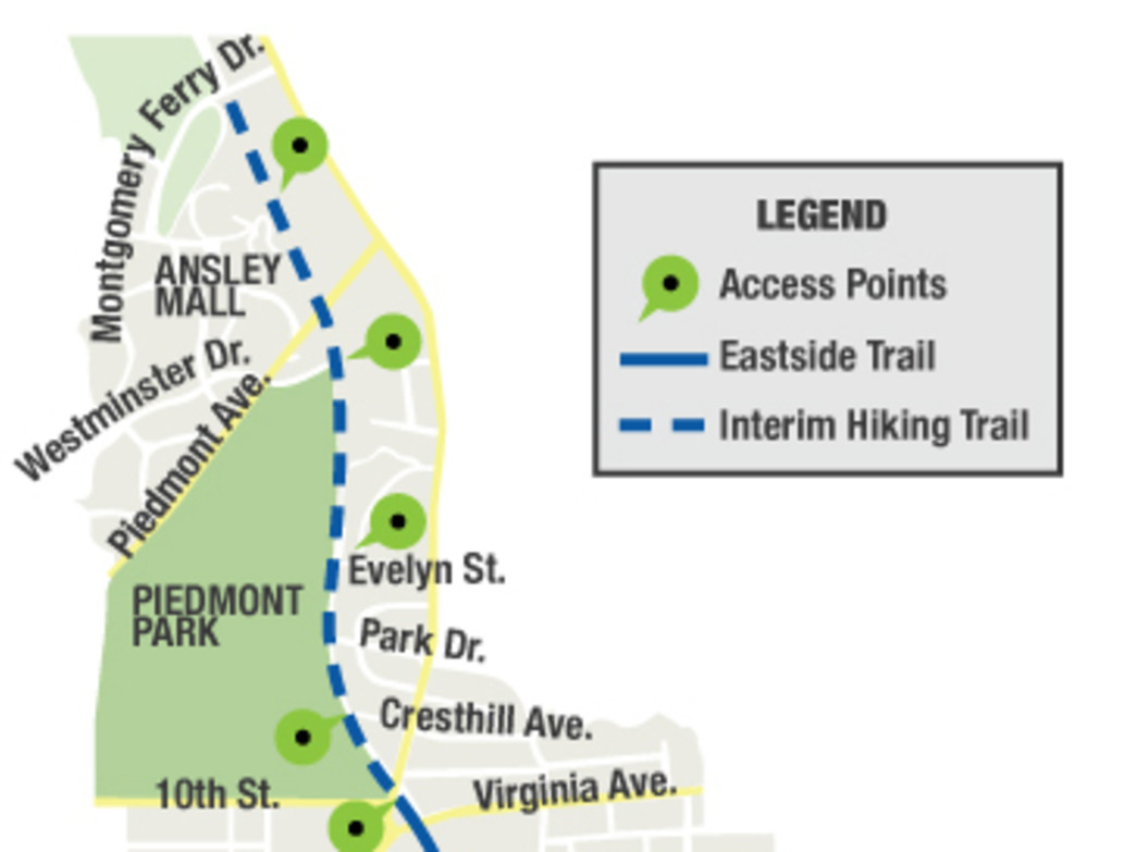 The Eastside Trail map.