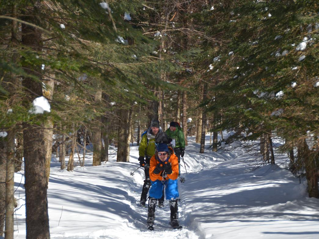 Teams are made up of two to three people in this winter adventure race.