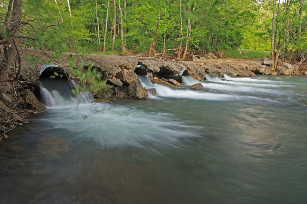 Hurricane Creek flows near pet-friendly trails at Moss Rock Preserve.