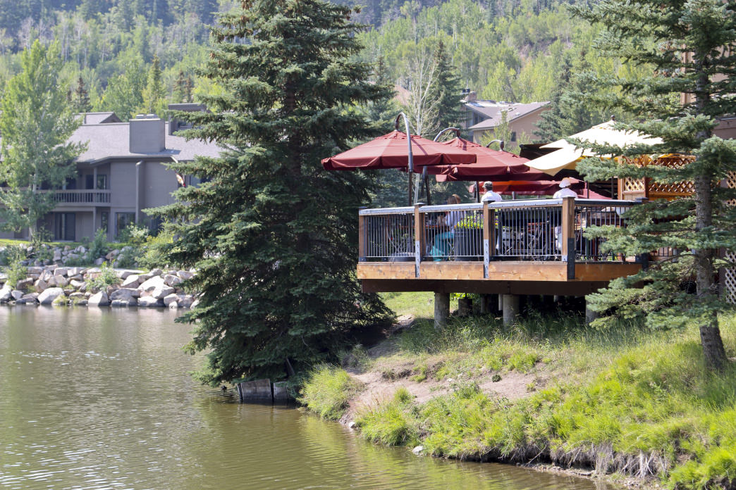 The deck at the Deer Valley Grocery~Café is a popular spot to enjoy a quick lunch.