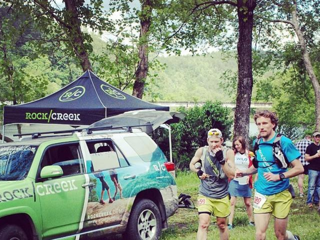 Rock/Creek Race Team members Nathan Holland and Daniel Hamilton run the 2014 Thunder Rock 100 Miler