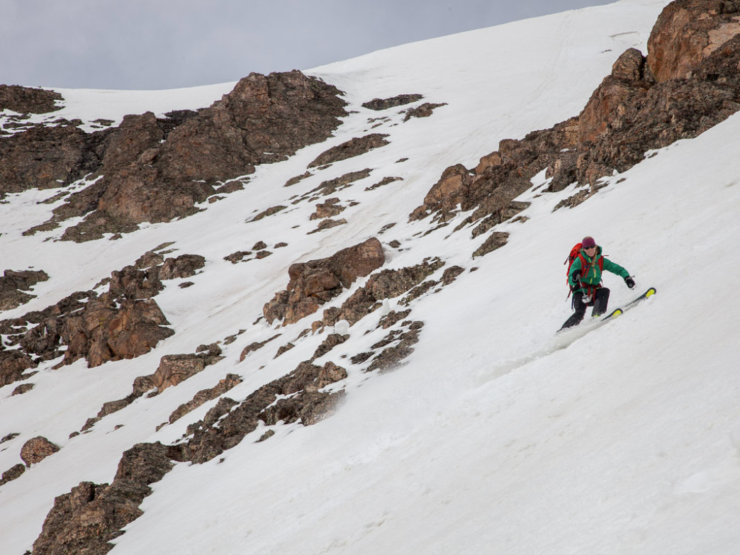 Christy Mahon skiing Huerfano Peak in the Sangre de Cristos.