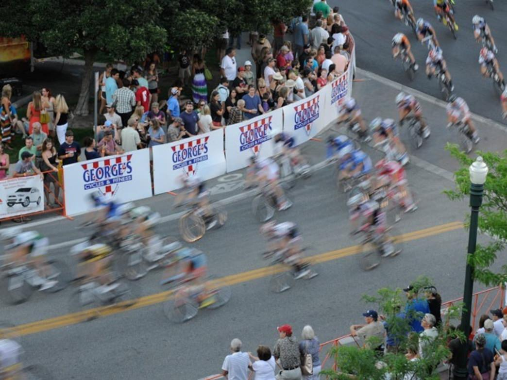 Corners are always a good spot for watching the Boise Twilight Criterium.