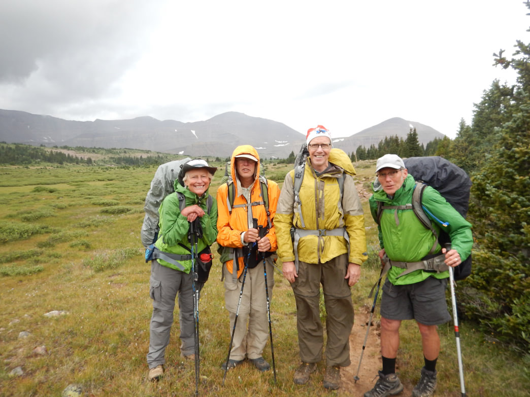 The crew posing in Painter Basin with King's Peak looming in the distance.      Polly Scotland