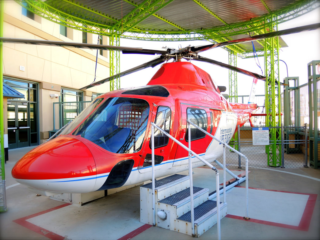 A full-size Life Flight Helicopter interactive exhibit. Discovery Gateway Museum