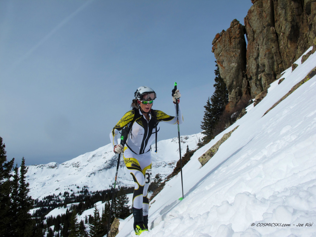 Lindsay Plant charges uphill during a COSMIC skimo race in Irwin.