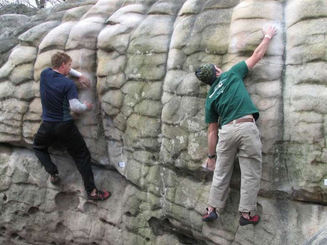 Breaking a sweat on Horse Pens 40 boulders.