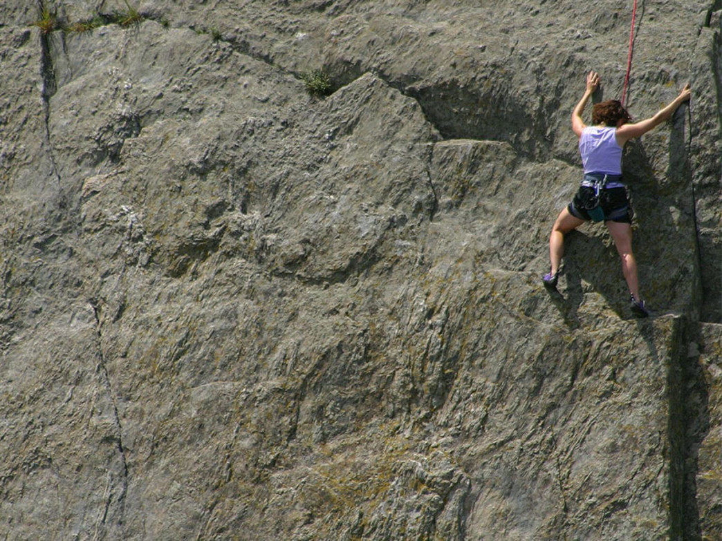 Climber scales the Virginia side of Great Falls Park