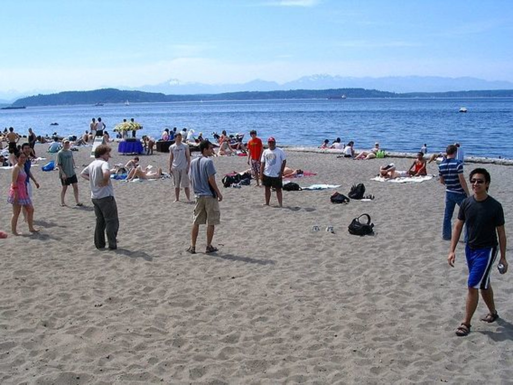 On a sunny day there is always a crowd at Alki Beach.