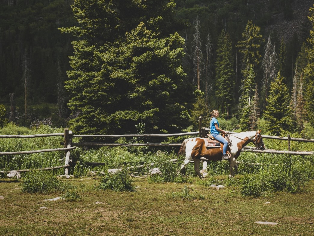 Abbigail Pickering rides a horse in the Wasatch-Cache National Forest, Utah.