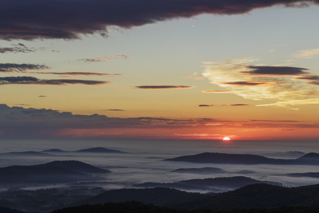 Sunsets are spectacular in Shenandoah National Park.