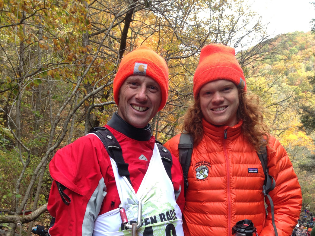 Andrew Holcombe, left, after finishing the 2014 Green River Race.