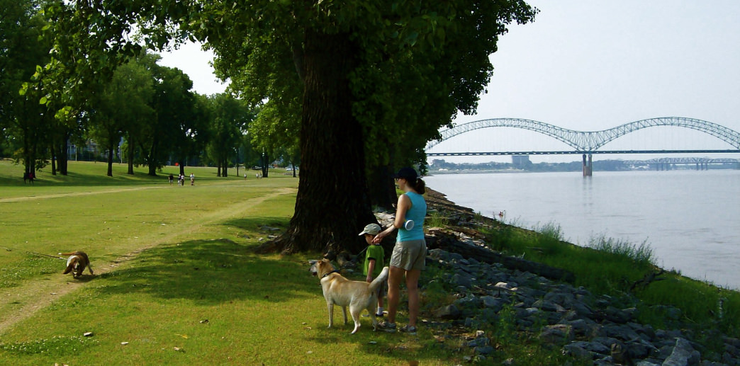 The Mud Island Greenbelt Trail runs along the Mississippi River.