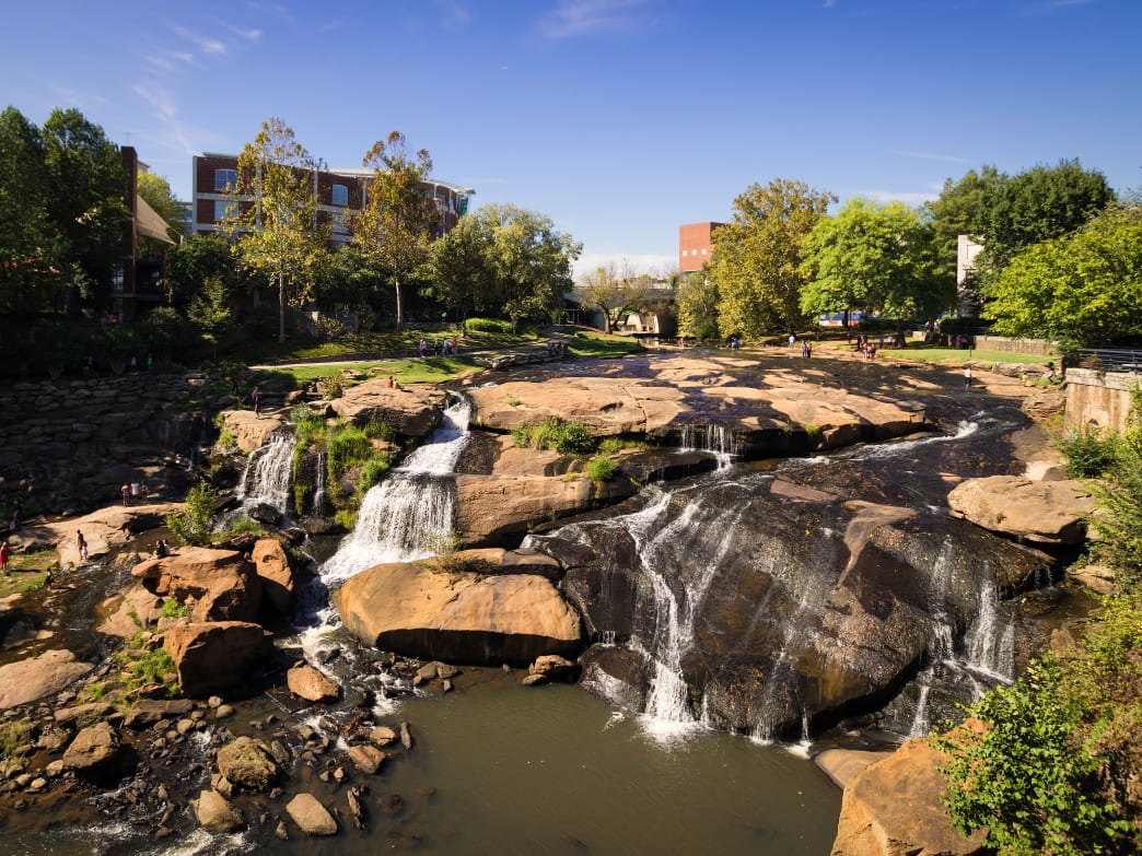 Enjoy the 28-foot waterfall that anchors the park.
