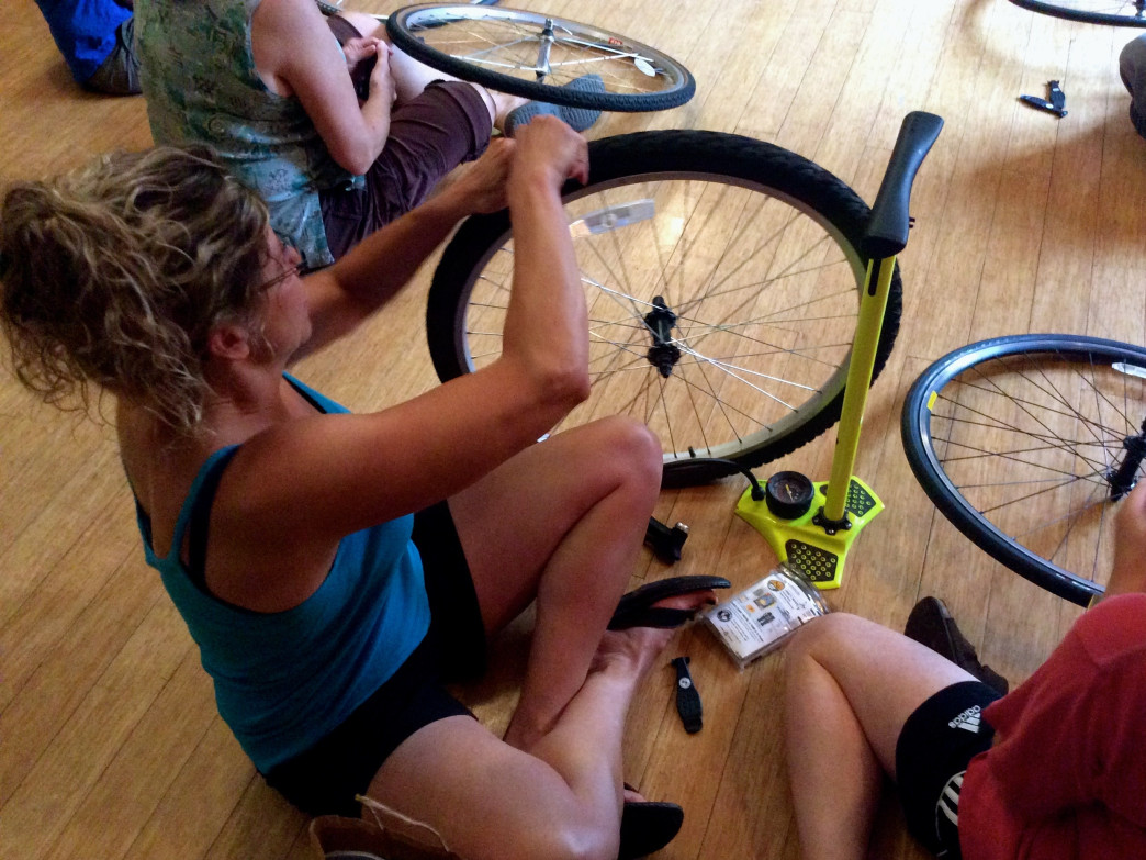 At a recent clinic, SheJumpers fine-tuned bike maintenance skills.