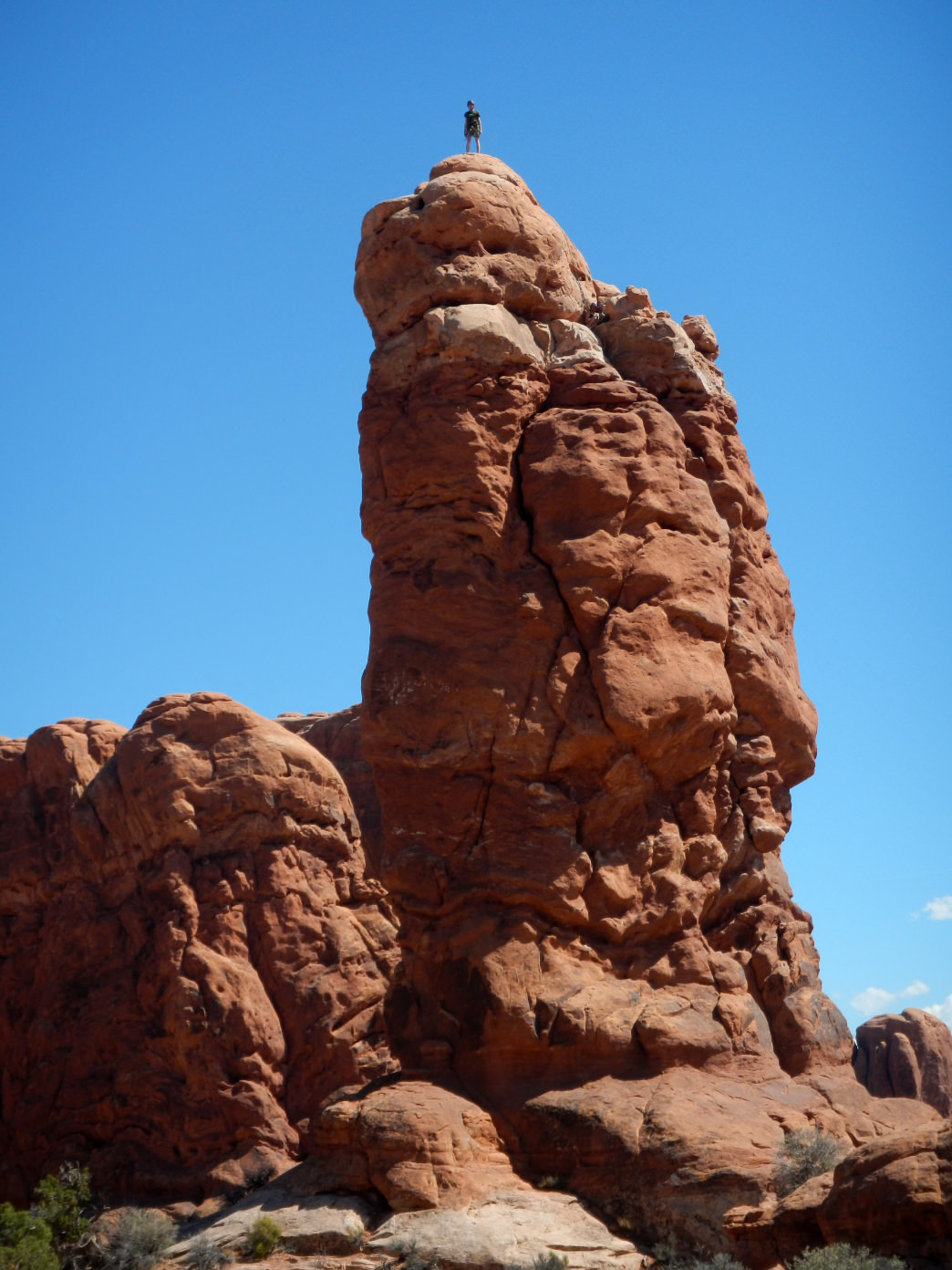 Owl Rock is an ideal first-time tower, conveniently located in Arches National Park.      Bix Firer
