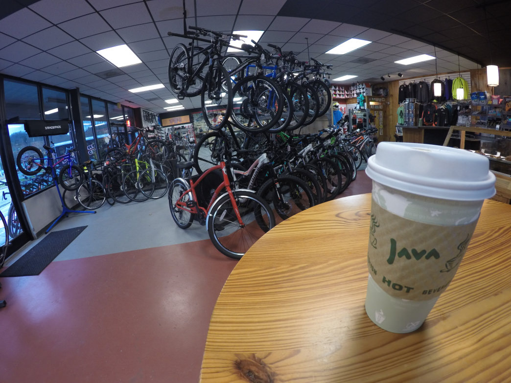 Crank Coffee is the perfect place to ride out the storms that keep you from riding the trails.