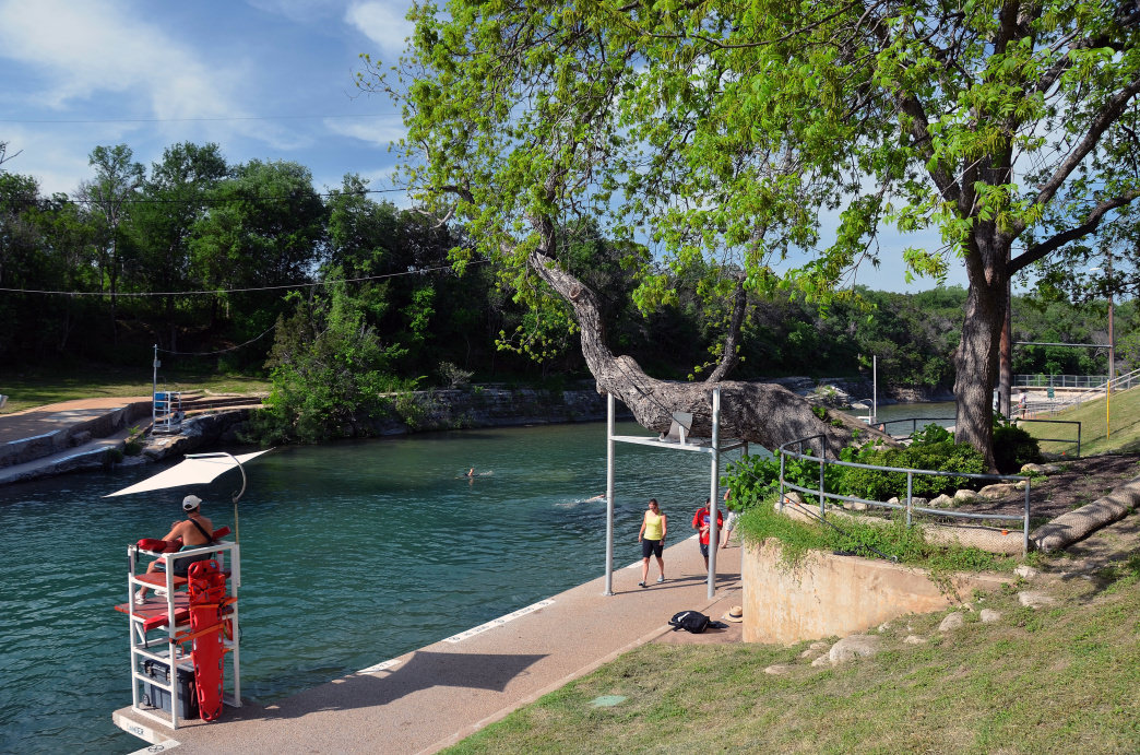 Barton Springs Pool is a refreshing place to take a break on a hot day.