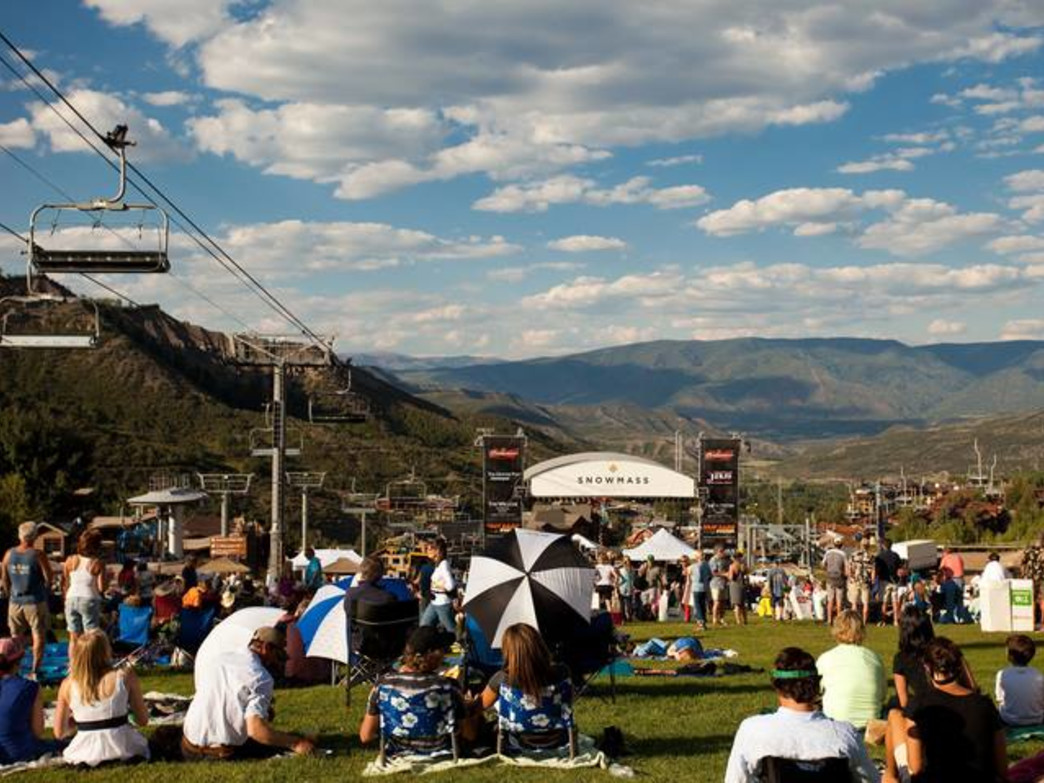 Grab a blanket or a lawn chair and enjoy live free music at Snowmass' Fanny Hill as the sun sets on the Elk Mountains.