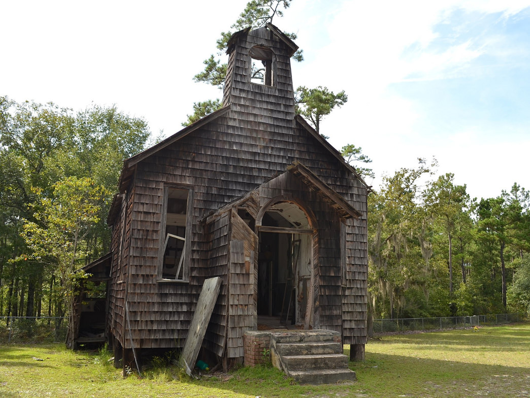 An abandoned church in the Francis Marion National Forest.