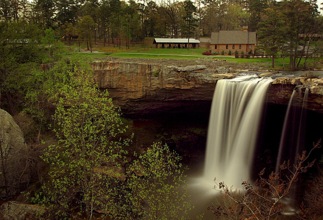 The 90-foot falls in Noccalula Falls Park is famous for its folklore.