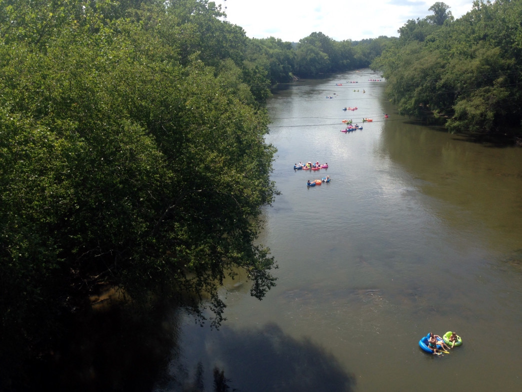 Floating on the French Broad River.