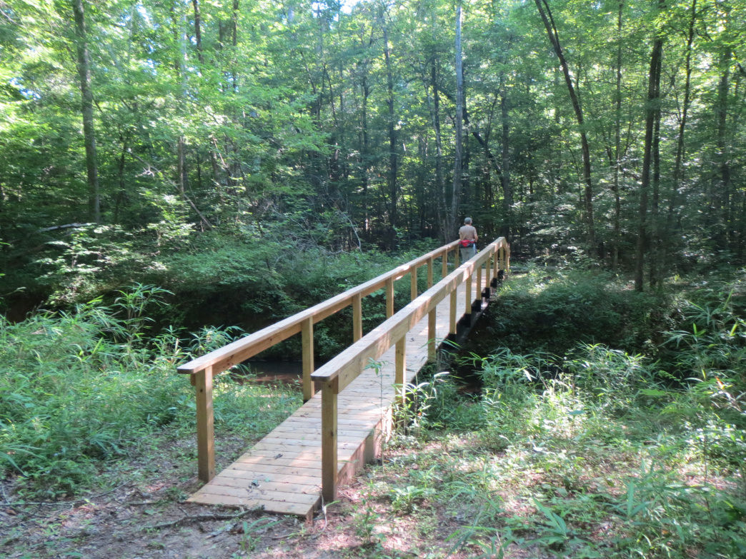 A bridge crosses over a slough on the Wood Duck Trail at Forever Wild's Coon Creek Tract.