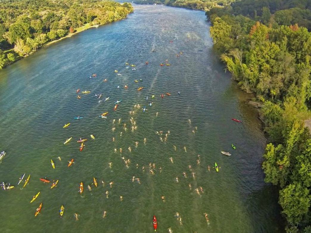 An aerial view of the 2014 Swim the Suck