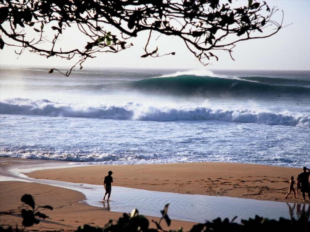 Banzai Pipeline on the North Shore of Oahu in Hawaii has been captivating people since it first popped on the radar screen in the 1970's. Here, Aroyan takes a decidedly deadly wave and colors it quite peaceful.