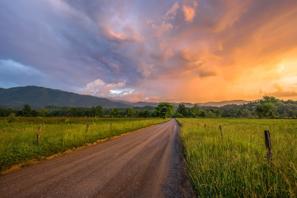 Cades Cove is an excellent place to watch the sunset, either from your campsite or from the summit of Rocky Top (of Tennessee state song fame).