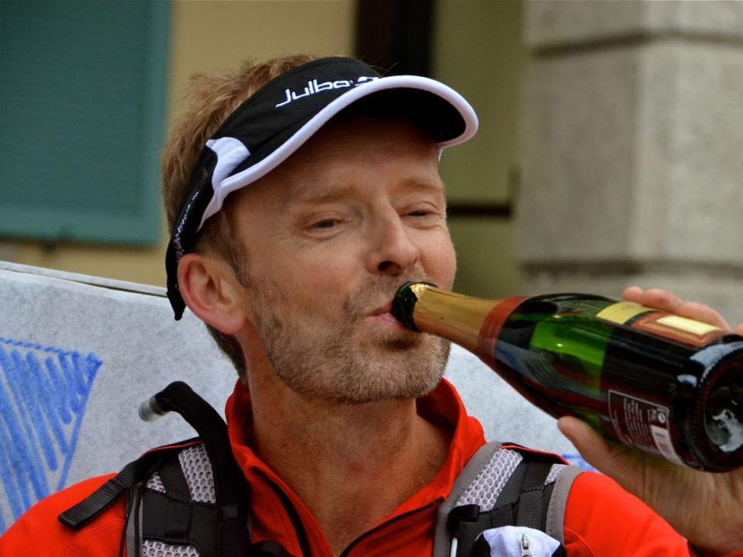 Nick Yardley celebrating his 2012 UTMB finish