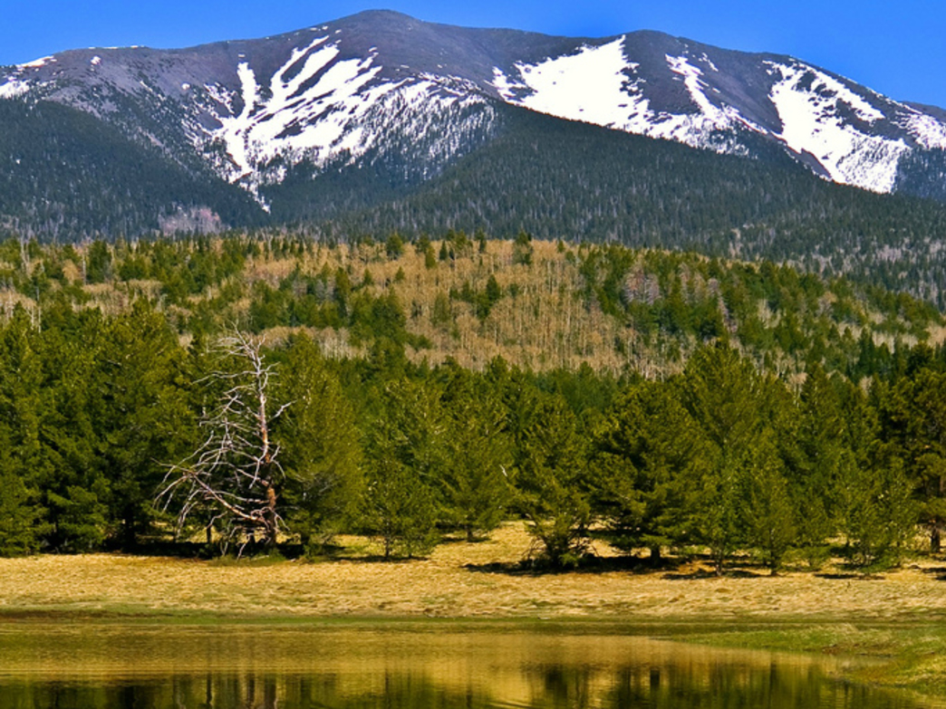 Humphreys Peak over Bismarck Lake