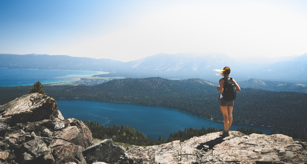 Lake Tahoe is about a 20-minute trip from the charming mountain town of Truckee.