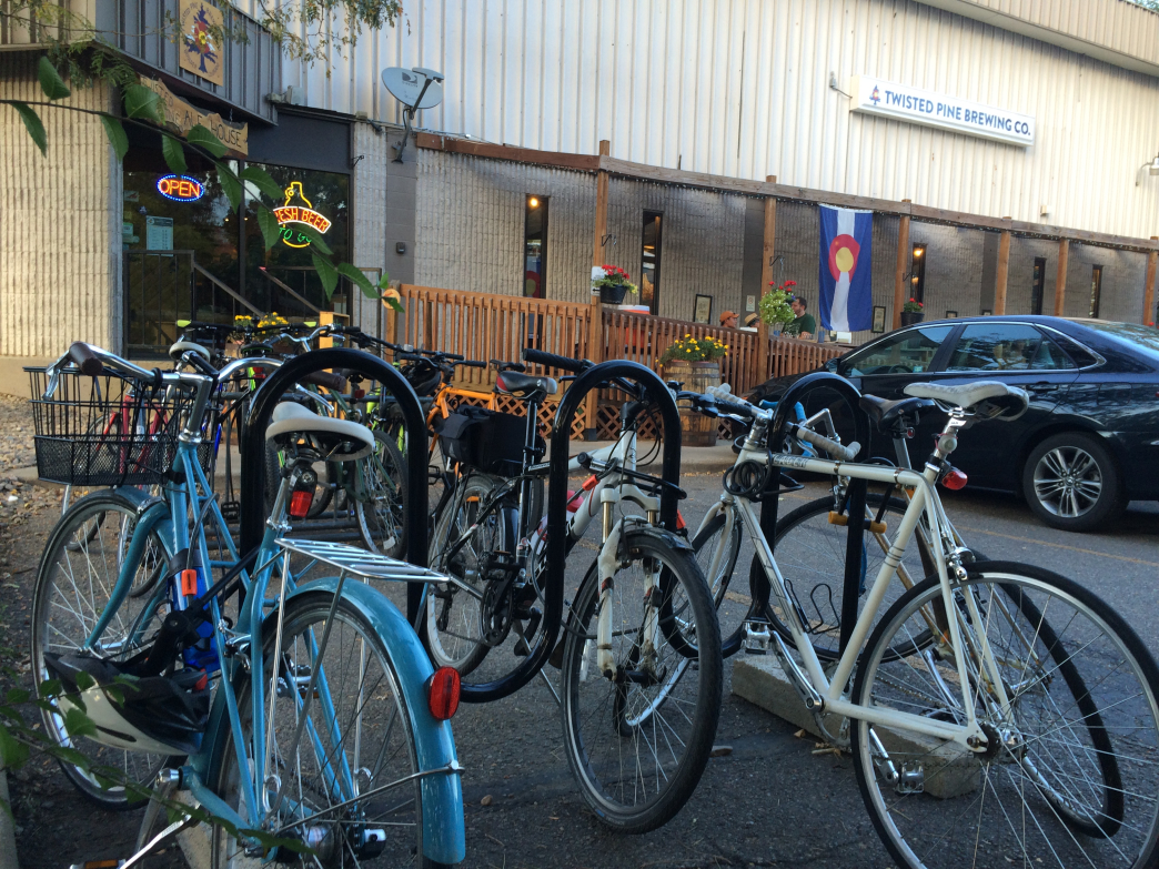 Like most breweries in Boulder, Twisted Pine has plenty of bike parking.