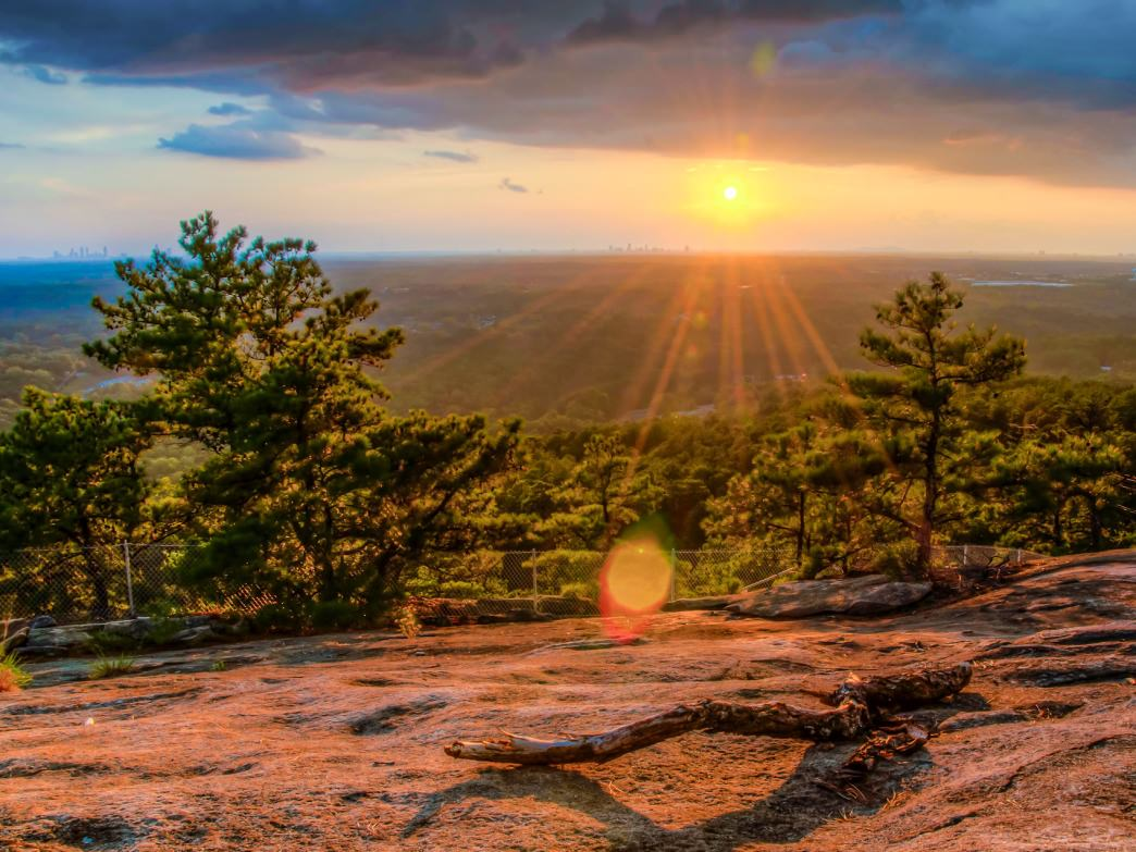 The sunset view from Stone Mountain, just outside Atlanta.