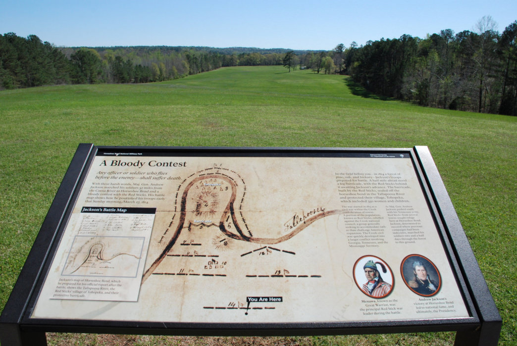 A battlefield overlook features a map drawn by Andrew Jackson.