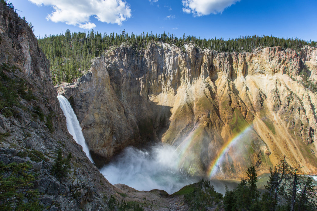 Double rainbow at the Lower Falls of the Yellowstone River.