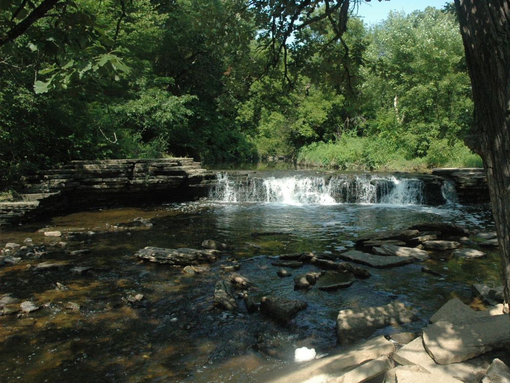 The waterfall at Waterfall Glen Forest Preserve was created by the Civilian Conservation Corps.
