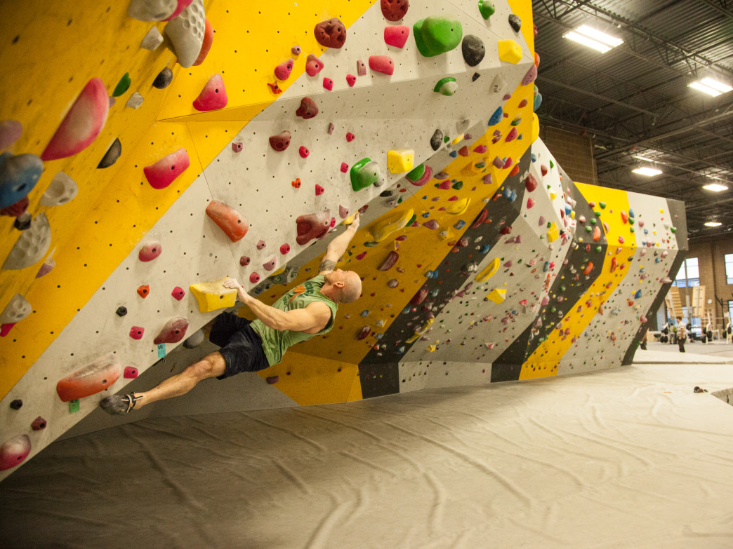 The Lehi Momentum Gym boasts a large and varied bouldering area.