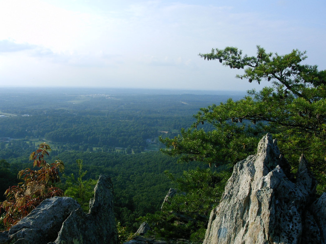 Crowder's Mountain, on the North Carolina/ South Carolina border, 20 miles west of Charlotte, looking northwest from the summit.