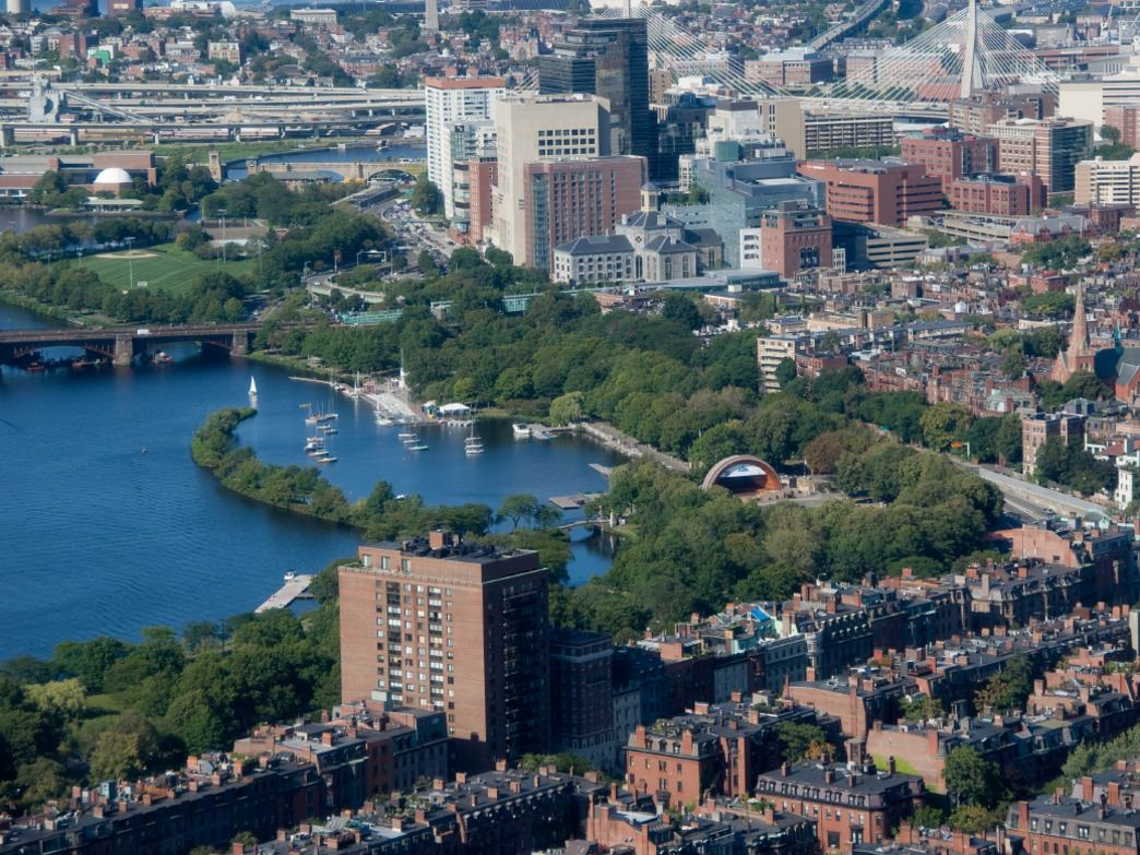 A birds eye view of Hatch Shell on Charles river in Boston, MA