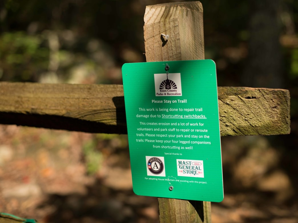 Signs along the way remind hikers to stay on the trails to help prevent erosion that has been recently damaging the trails.
