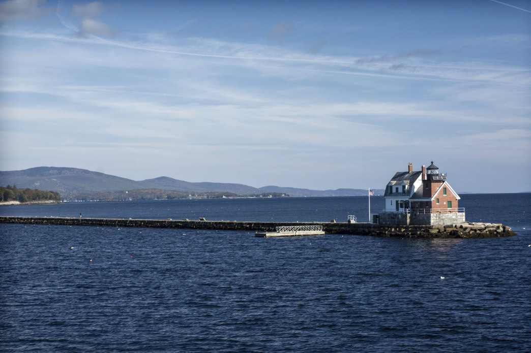 The walkable granite breakwater extends 4,346 feet, eight tenths of a mile, from Jameson Point into Rockland Harbor.