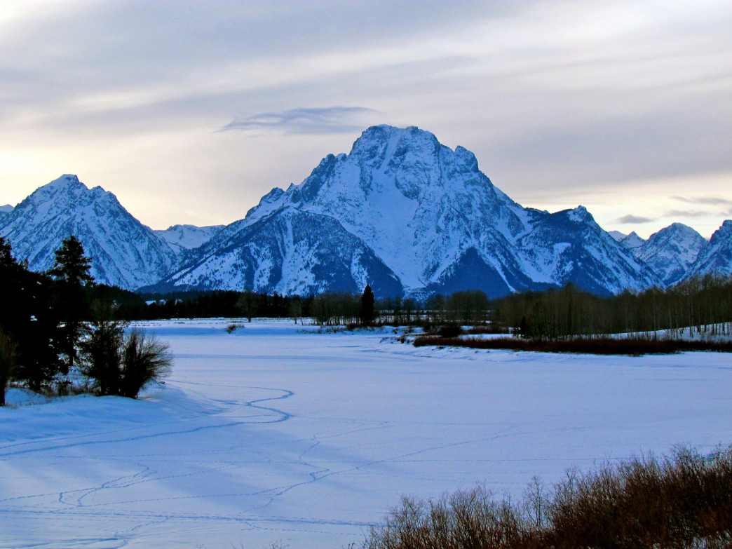 Grand Teton National Park in winter is a spectacular sight.