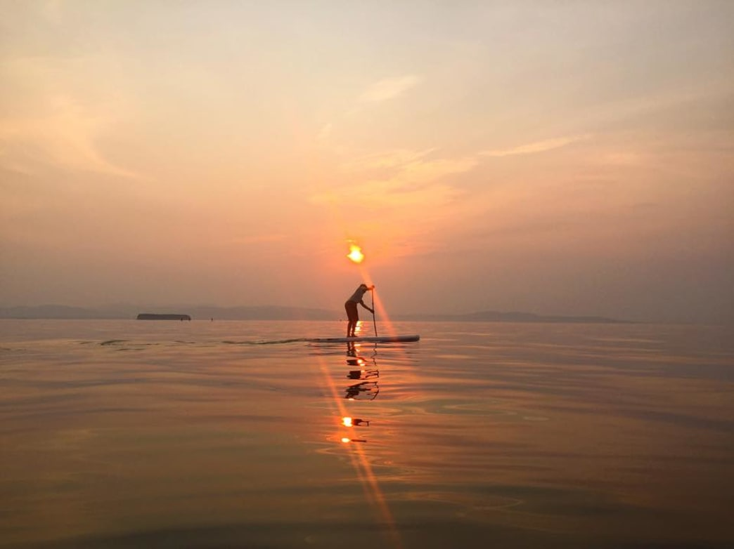 A midsummer night's paddle along the glasslike surface of Lake Champlain