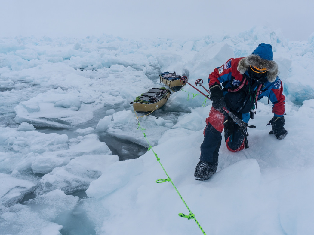 Shrinking Arctic ice is making polar travel more and more difficult, but Eric Larsen is still at it.