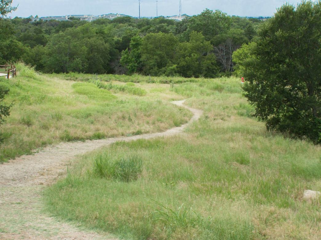 One of the many dirt paths along the outskirts of the park.