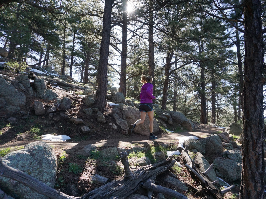 Lion's Lair climbs gradually past rocky outcroppings and through groves of pine trees on Mount Sanitas.