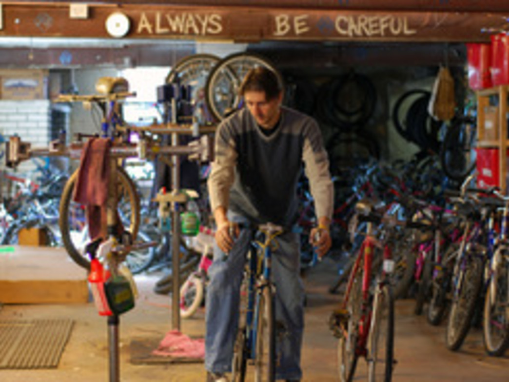 Donated bicycles are repaired, reconditioned, and resold to the public to help fund Trips for Kids.
