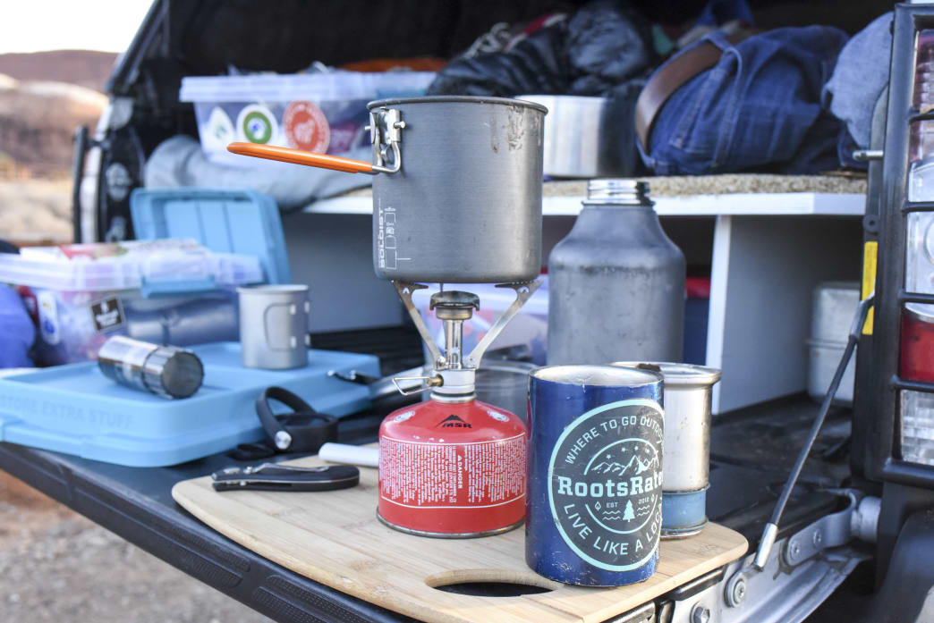 Dispersed camping cooking in the BLM lands of Southern Utah.